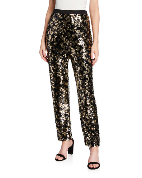 Joan Vass Plus Size Animal Sequin Pants