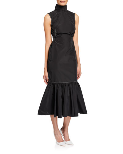 Cella Sleeveless High-Neck Midi Flounce-Hem Dress