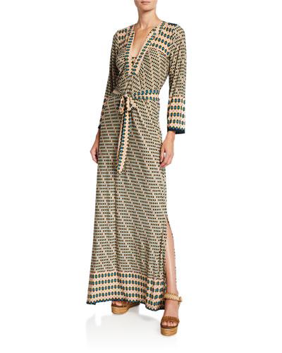 Geo-Print Classic Caftan Maxi Dress