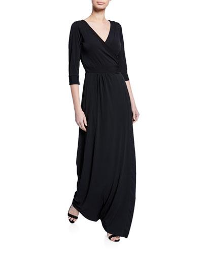 Luxe Jersey 1/2-Sleeve Maxi Dress