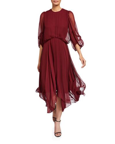 Dylan Blouson-Sleeve Georgette Dress