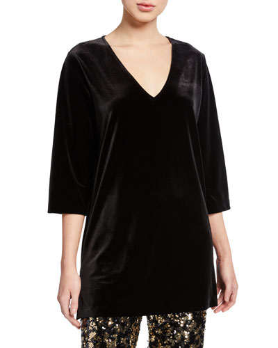Petite V-Neck 3/4-Sleeve Velvet Easy Tunic