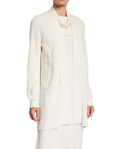 Petite Open-Front Ribbed Cardigan with Patch Pockets