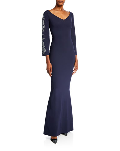 V-Neck Long-Sleeve Trumpet Gown with Embroidery
