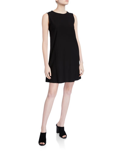Petite Sleeveless Lightweight Crepe Shift Dress