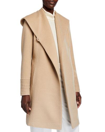Mid-Length Hooded Baby Alpaca Wrap Coat