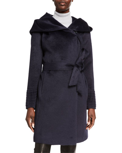 Mid-Length Hooded Suri Alpaca Wrap Coat