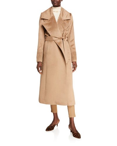 Oversized-Collar Wrap Midi Suri Alpaca Coat