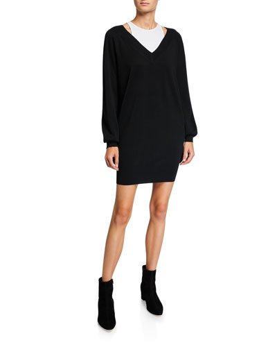 Bi-Layer Long-Sleeve Sweater Dress