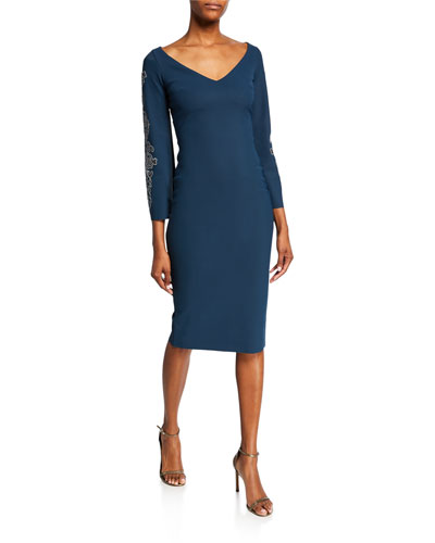 V-Neck Long-Sleeve Sheath Dress with Embroidery