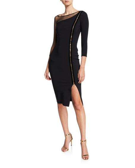 Chiara Boni La Petite Robe 3/4-Sleeve Asymmetric Zip-Front Cocktail Dress w/ Mesh Inset