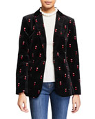 FRAME Heart-Embroidered Velvet Classic Blazer