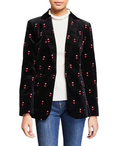 Heart-Embroidered Velvet Classic Blazer