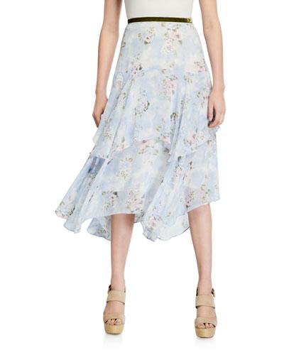 Alex Tiered Floral Long Skirt