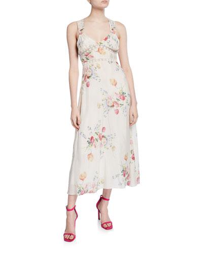 Sabina Sleeveless Floral Lace-Inset Dress