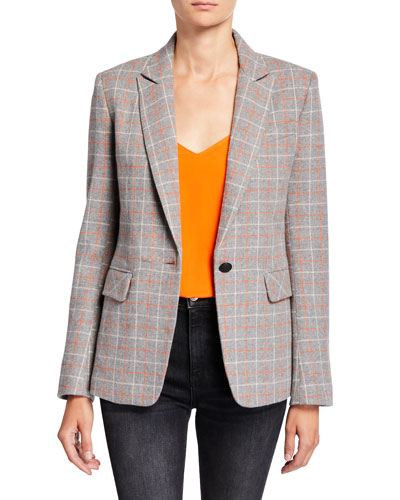Rylie Check One-Button Wool Blazer