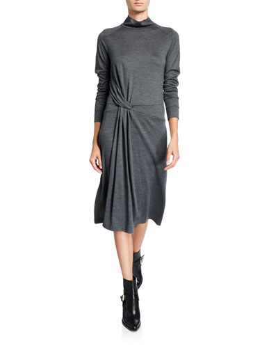 Draped Wool Turtleneck Midi Dress