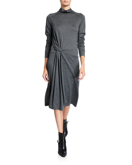 Rag & Bone Draped Wool Turtleneck Midi Dress