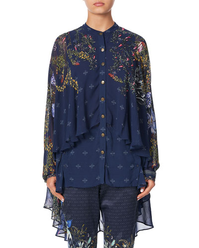 Draped Button-Front Long-Sleeve Silk Blouse