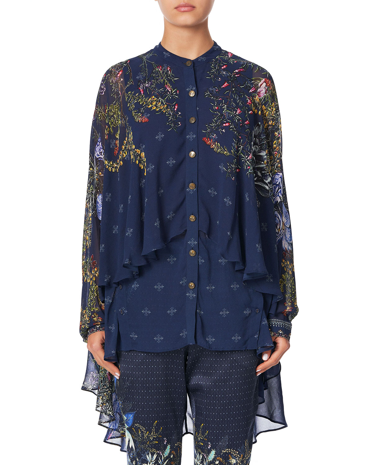 Camilla Silks DRAPED BUTTON-FRONT LONG-SLEEVE SILK BLOUSE