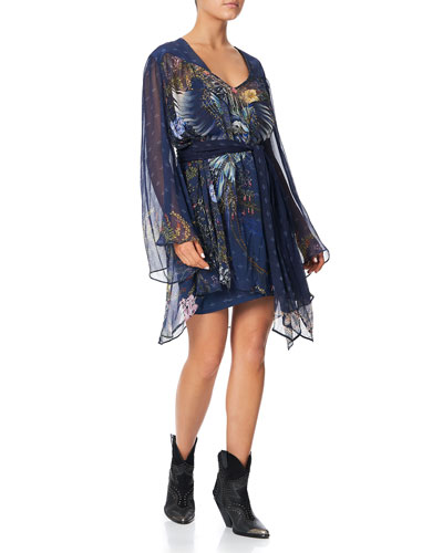 Printed Silk Short Dress with Yoke