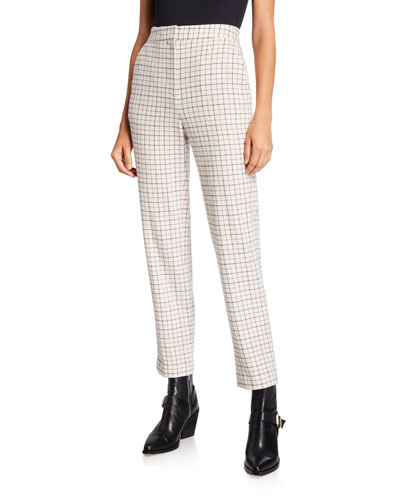 Poppy High-Waist Wool Check Pants
