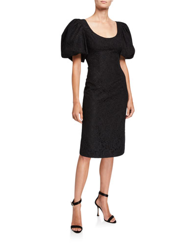 Terry Lace Puff-Sleeve Cocktail Dress