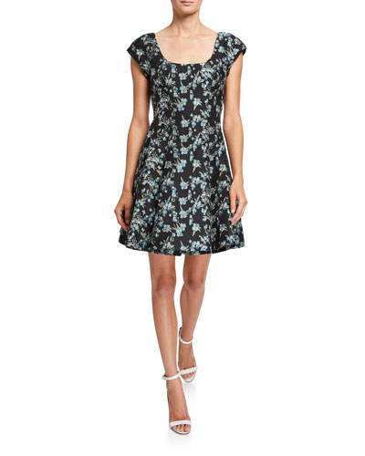 Wildflower Jacquard Cap-Sleeve Dress