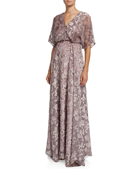 ZAC Zac Posen Floral Devore Short-Sleeve Gown with Dramatic Back