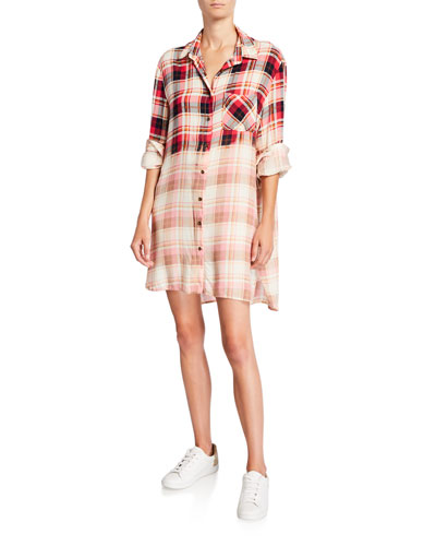 Plaid Shirt Dress with Sequined Elbow Patches
