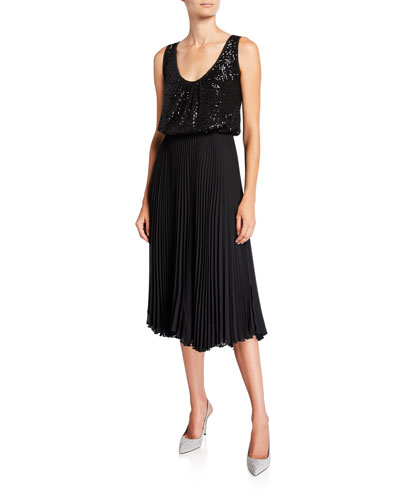 Sequined Tank Dress with Pleated Skirt