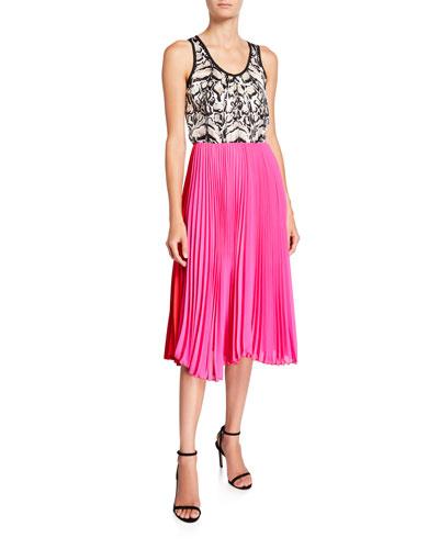 Mixed Silk Pleated Tank Dress