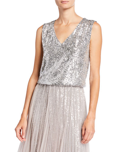 Sequined V-Neck Tank