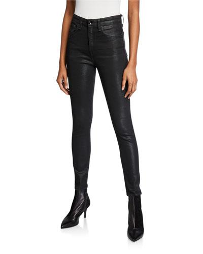 Nina Coated High-Rise Skinny Ankle Jeans