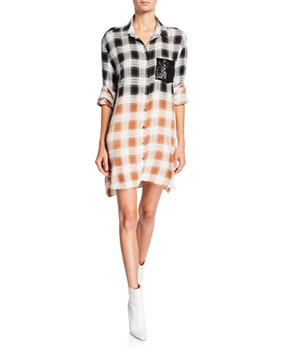 Plaid Shirt Dress with Sequined Pocket