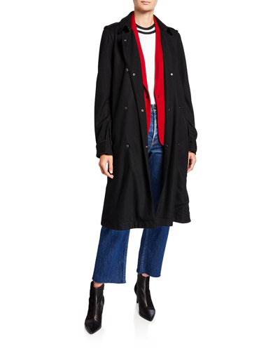Eunice Belted Wool Snap-Front Coat