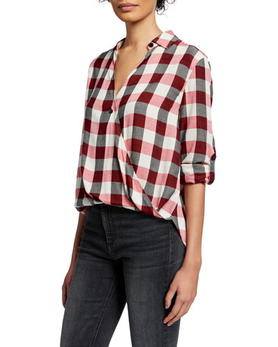 Camile Plaid Surplice Long-Sleeve Shirt