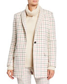 Rag & Bone Nova Single-Button Check Wool Blazer