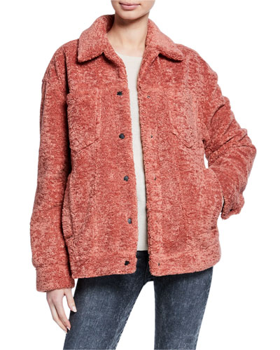 Julia Snap-Front Plush Jacket