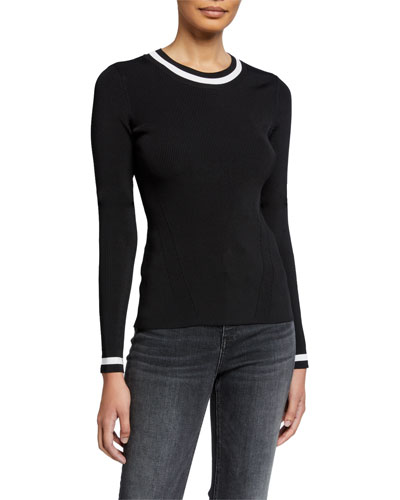 Priya Crewneck Long-Sleeve Top w/ Contrast Trim