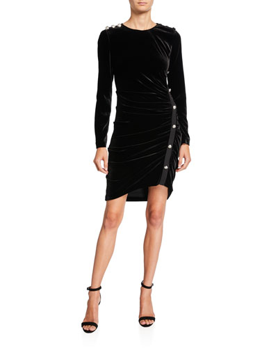 Ira Velvet Cocktail Dress with Buttons