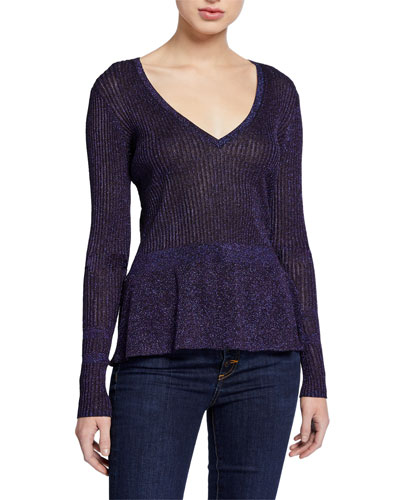 Esmeralda Metallic V-Neck Sweater