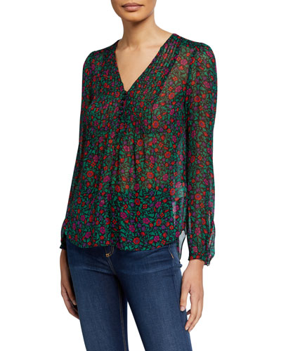 Lowell V-Neck Long-Sleeve Silk Blouse