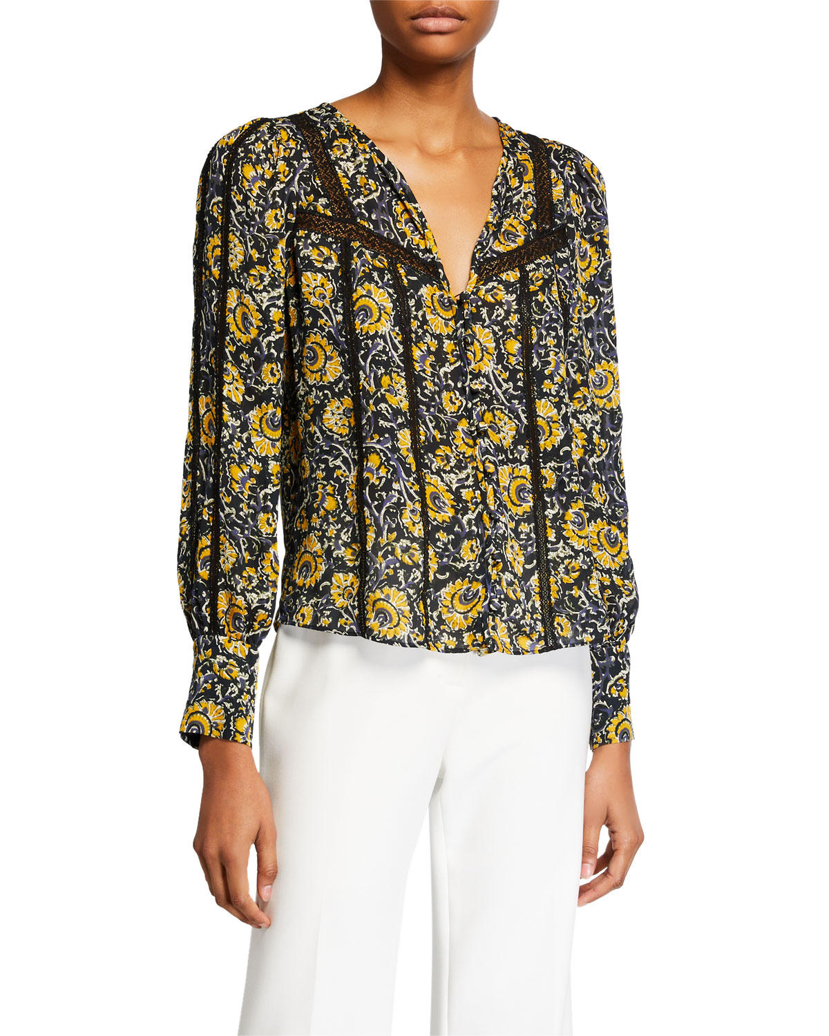 Veronica Beard Tops TARRY PRINTED LACE-INSET BLOUSE