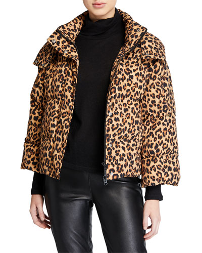 Casper Leopard-Print Puffer Jacket