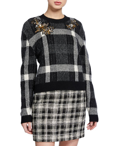 Deana Embellished Plaid Sweater