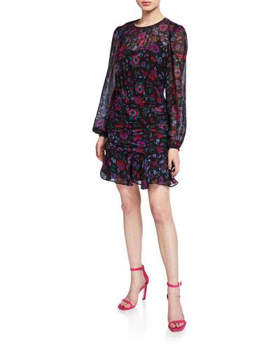 Robin Floral-Print Long-Sleeve Silk Short Dress