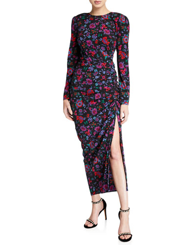 Selena Long-Sleeve Floral Ruched Dress