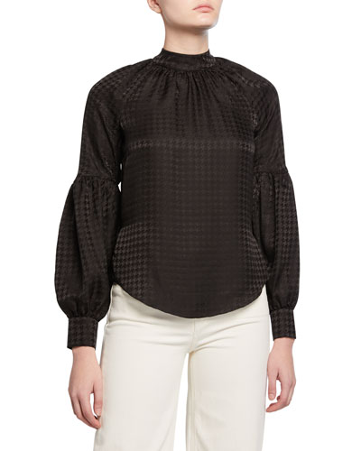 Cicley Houndstooth Mock-Neck Silk Top