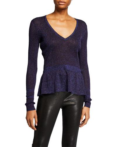 Esmeralda V-Neck Metallic Sweater